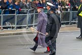 Remembrance Sunday at the Cenotaph in London 2014: The heads of the Army and Navy on the way to Downing Street. Press stand opposite the Foreign Office building, Whitehall, London SW1, London, Greater London, United Kingdom, on 09 November 2014 at 09:54, image #20