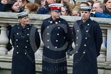 Remembrance Sunday at the Cenotaph in London 2014: Members of the Royal Navy detachment long before the event. Press stand opposite the Foreign Office building, Whitehall, London SW1, London, Greater London, United Kingdom, on 09 November 2014 at 10:02, image #23