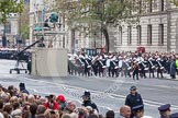 Remembrance Sunday at the Cenotaph in London 2014: The Band of the Royal Marines is followed by service detachments from the Royal Navy and Royal Marines.. Press stand opposite the Foreign Office building, Whitehall, London SW1, London, Greater London, United Kingdom, on 09 November 2014 at 10:17, image #30