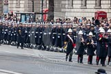 Remembrance Sunday at the Cenotaph in London 2014: The Band of the Royal Marines is followed by the Royal Navy detachment. Press stand opposite the Foreign Office building, Whitehall, London SW1, London, Greater London, United Kingdom, on 09 November 2014 at 10:17, image #32