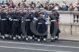 Remembrance Sunday at the Cenotaph in London 2014: The Royal Navy detachment marching towards the Cenotaph. Press stand opposite the Foreign Office building, Whitehall, London SW1, London, Greater London, United Kingdom, on 09 November 2014 at 10:17, image #35