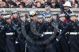 Remembrance Sunday at the Cenotaph in London 2014: The Royal Navy detachment marching towards the Cenotaph. Press stand opposite the Foreign Office building, Whitehall, London SW1, London, Greater London, United Kingdom, on 09 November 2014 at 10:18, image #37