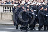 Remembrance Sunday at the Cenotaph in London 2014: The Royal Navy detachment marching towards the Cenotaph. Press stand opposite the Foreign Office building, Whitehall, London SW1, London, Greater London, United Kingdom, on 09 November 2014 at 10:18, image #38
