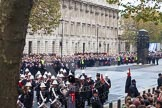 Remembrance Sunday at the Cenotaph in London 2014: The Band of the Royal Marines, behind them the first column of veterans. Press stand opposite the Foreign Office building, Whitehall, London SW1, London, Greater London, United Kingdom, on 09 November 2014 at 10:19, image #40