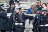 Remembrance Sunday at the Cenotaph in London 2014: The Royal Nacy detachment on the northern side of Whitehall checking their distances for a perfekt line-up. Press stand opposite the Foreign Office building, Whitehall, London SW1, London, Greater London, United Kingdom, on 09 November 2014 at 10:19, image #42