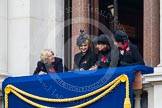Remembrance Sunday at the Cenotaph in London 2014: Guests on one of the balconies of the Foreign- and Commonwealth Office. Press stand opposite the Foreign Office building, Whitehall, London SW1, London, Greater London, United Kingdom, on 09 November 2014 at 10:20, image #43