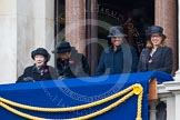 Remembrance Sunday at the Cenotaph in London 2014: Guests on one of the balconies of the Foreign- and Commonwealth Office. Press stand opposite the Foreign Office building, Whitehall, London SW1, London, Greater London, United Kingdom, on 09 November 2014 at 10:20, image #44