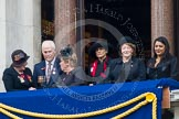 Remembrance Sunday at the Cenotaph in London 2014: Guests on one of the balconies of the Foreign- and Commonwealth Office. Press stand opposite the Foreign Office building, Whitehall, London SW1, London, Greater London, United Kingdom, on 09 November 2014 at 10:20, image #45