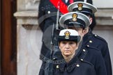 Remembrance Sunday at the Cenotaph in London 2014: Members of the Royal Navy detachment at the door of the Foreign- and Commonwealth Office. Press stand opposite the Foreign Office building, Whitehall, London SW1, London, Greater London, United Kingdom, on 09 November 2014 at 10:20, image #46
