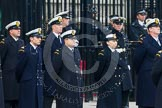 Remembrance Sunday at the Cenotaph in London 2014: Members of HM Coastguard at the Downing Street gate. Press stand opposite the Foreign Office building, Whitehall, London SW1, London, Greater London, United Kingdom, on 09 November 2014 at 10:21, image #47