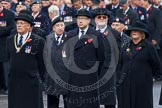 Remembrance Sunday at the Cenotaph in London 2014: Representatives of the major charities that will lay a wreath later. Press stand opposite the Foreign Office building, Whitehall, London SW1, London, Greater London, United Kingdom, on 09 November 2014 at 10:21, image #49