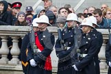 Remembrance Sunday at the Cenotaph in London 2014: Royal Marines in position on the northern side of Whitehall. Press stand opposite the Foreign Office building, Whitehall, London SW1, London, Greater London, United Kingdom, on 09 November 2014 at 10:22, image #50