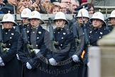 Remembrance Sunday at the Cenotaph in London 2014: Royal Marines in position on the northern side of Whitehall. Press stand opposite the Foreign Office building, Whitehall, London SW1, London, Greater London, United Kingdom, on 09 November 2014 at 10:22, image #51