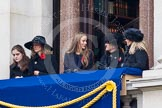 Remembrance Sunday at the Cenotaph in London 2014: Guests on one of the balconies of the Foreign- and Commonwealth Office. Press stand opposite the Foreign Office building, Whitehall, London SW1, London, Greater London, United Kingdom, on 09 November 2014 at 10:22, image #52