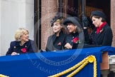 Remembrance Sunday at the Cenotaph in London 2014: Guests on one of the balconies of the Foreign- and Commonwealth Office. Press stand opposite the Foreign Office building, Whitehall, London SW1, London, Greater London, United Kingdom, on 09 November 2014 at 10:22, image #53