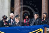 Remembrance Sunday at the Cenotaph in London 2014: Guests on one of the balconies of the Foreign- and Commonwealth Office. Press stand opposite the Foreign Office building, Whitehall, London SW1, London, Greater London, United Kingdom, on 09 November 2014 at 10:22, image #55