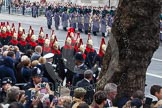 Remembrance Sunday at the Cenotaph in London 2014: The detachment of the Household Cavalry arrives on Whitehall. Press stand opposite the Foreign Office building, Whitehall, London SW1, London, Greater London, United Kingdom, on 09 November 2014 at 10:25, image #61