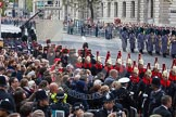 Remembrance Sunday at the Cenotaph in London 2014: The detachment of the Household Cavalry , followed by the detachment of the King's Troop Royal Horse Artillery, arrives on Whitehall. Press stand opposite the Foreign Office building, Whitehall, London SW1, London, Greater London, United Kingdom, on 09 November 2014 at 10:25, image #62