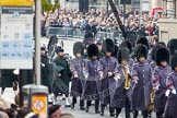 Remembrance Sunday at the Cenotaph in London 2014: A household Divison band is followed by the Pipes and Drums. Press stand opposite the Foreign Office building, Whitehall, London SW1, London, Greater London, United Kingdom, on 09 November 2014 at 10:29, image #70