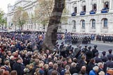 Remembrance Sunday at the Cenotaph in London 2014: Allthe bands ready for the event on the western side of Whitehall. Press stand opposite the Foreign Office building, Whitehall, London SW1, London, Greater London, United Kingdom, on 09 November 2014 at 10:52, image #92