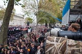 Remembrance Sunday at the Cenotaph in London 2014: The press stand on the southern side of Whitehall shortly before the start of the event. Press stand opposite the Foreign Office building, Whitehall, London SW1, London, Greater London, United Kingdom, on 09 November 2014 at 10:53, image #94