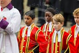 Remembrance Sunday at the Cenotaph in London 2014: Four of the ten Children of the Chapel Royal that are part of the choir. Press stand opposite the Foreign Office building, Whitehall, London SW1, London, Greater London, United Kingdom, on 09 November 2014 at 10:54, image #102