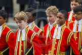 Remembrance Sunday at the Cenotaph in London 2014: The Children of the Chapel Royal, part of the choir. Press stand opposite the Foreign Office building, Whitehall, London SW1, London, Greater London, United Kingdom, on 09 November 2014 at 10:54, image #103