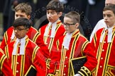 Remembrance Sunday at the Cenotaph in London 2014: The Children of the Chapel Royal, part of the choir. Press stand opposite the Foreign Office building, Whitehall, London SW1, London, Greater London, United Kingdom, on 09 November 2014 at 10:54, image #105