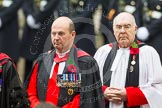 Remembrance Sunday at the Cenotaph in London 2014: The Chaplain General to HM Land Forces, Reverend Dr David George Coulter, behind him the Sub-Dean of Her Majesty's Chapels Royal, the Reverend Prebendary William Scott. Press stand opposite the Foreign Office building, Whitehall, London SW1, London, Greater London, United Kingdom, on 09 November 2014 at 10:54, image #113