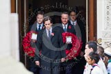 Remembrance Sunday at the Cenotaph in London 2014: The politicians emerging from the door of the Foreign- and Commonwealth Office - Nick Clegg and David Cameron. Press stand opposite the Foreign Office building, Whitehall, London SW1, London, Greater London, United Kingdom, on 09 November 2014 at 10:55, image #121