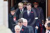Remembrance Sunday at the Cenotaph in London 2014: The politicians emerging from the door of the Foreign- and Commonwealth Office, amongst them Boris Johnson, the London Mayor. Press stand opposite the Foreign Office building, Whitehall, London SW1, London, Greater London, United Kingdom, on 09 November 2014 at 10:55, image #124