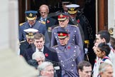 Remembrance Sunday at the Cenotaph in London 2014: The military leaders emerging from the door of the Foreign- and Commonwealth Office. Press stand opposite the Foreign Office building, Whitehall, London SW1, London, Greater London, United Kingdom, on 09 November 2014 at 10:56, image #125