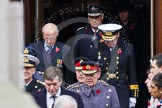 Remembrance Sunday at the Cenotaph in London 2014: The military leaders emerging from the door of the Foreign- and Commonwealth Office. Press stand opposite the Foreign Office building, Whitehall, London SW1, London, Greater London, United Kingdom, on 09 November 2014 at 10:56, image #126