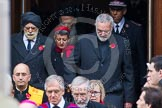 Remembrance Sunday at the Cenotaph in London 2014: The leaders of the faith communities emerging from the door of the Foreign- and Commonwealth Office. Press stand opposite the Foreign Office building, Whitehall, London SW1, London, Greater London, United Kingdom, on 09 November 2014 at 10:57, image #139