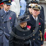 Remembrance Sunday at the Cenotaph in London 2014: HM The Queen, HRH The Duke of Edinburgh, and HRH The Duke of Cambridge on their way past the Cenotaph. Press stand opposite the Foreign Office building, Whitehall, London SW1, London, Greater London, United Kingdom, on 09 November 2014 at 10:58, image #145