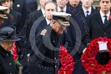 Remembrance Sunday at the Cenotaph in London 2014: HM The Queen, and HRH The Duke walking past the rows of politicians. Press stand opposite the Foreign Office building, Whitehall, London SW1, London, Greater London, United Kingdom, on 09 November 2014 at 10:59, image #146