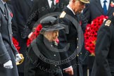 Remembrance Sunday at the Cenotaph in London 2014: HM The Queen, and HRH The Duke walking past the rows of politicians. Press stand opposite the Foreign Office building, Whitehall, London SW1, London, Greater London, United Kingdom, on 09 November 2014 at 10:59, image #147