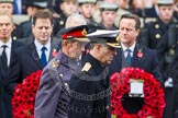 Remembrance Sunday at the Cenotaph in London 2014: HRH The Duke of York and HRH The Duke of Kent walking past the rows of politicians. Press stand opposite the Foreign Office building, Whitehall, London SW1, London, Greater London, United Kingdom, on 09 November 2014 at 10:59, image #148