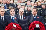 Remembrance Sunday at the Cenotaph in London 2014: Former prime ministers Tony Blair and John Major. Press stand opposite the Foreign Office building, Whitehall, London SW1, London, Greater London, United Kingdom, on 09 November 2014 at 11:02, image #168