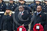 Remembrance Sunday at the Cenotaph in London 2014: The High Commissioner of Malta, the High Commissioner of Malawi, and the Acting High Commissioner of Kenya,  with their wreaths at the Cenotaph. Press stand opposite the Foreign Office building, Whitehall, London SW1, London, Greater London, United Kingdom, on 09 November 2014 at 11:02, image #173