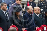 Remembrance Sunday at the Cenotaph in London 2014: The High Commissioner of Tonga, the High Commissioner of Swaziland, the High Commissioner of Mauritius and the High Commissioner of Barbados with their wreaths at the Cenotaph. Press stand opposite the Foreign Office building, Whitehall, London SW1, London, Greater London, United Kingdom, on 09 November 2014 at 11:03, image #177