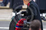 Remembrance Sunday at the Cenotaph in London 2014: HM The Queen walking towards the Cenotaph with her wreath. Press stand opposite the Foreign Office building, Whitehall, London SW1, London, Greater London, United Kingdom, on 09 November 2014 at 11:03, image #185