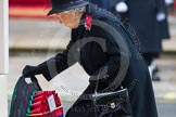 Remembrance Sunday at the Cenotaph in London 2014: HM The Queen laying her wreath at the Cenotaph. Press stand opposite the Foreign Office building, Whitehall, London SW1, London, Greater London, United Kingdom, on 09 November 2014 at 11:03, image #186
