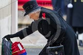 Remembrance Sunday at the Cenotaph in London 2014: HM The Queen laying her wreath at the Cenotaph. Press stand opposite the Foreign Office building, Whitehall, London SW1, London, Greater London, United Kingdom, on 09 November 2014 at 11:03, image #187