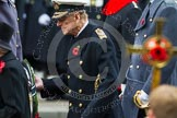 Remembrance Sunday at the Cenotaph in London 2014: HRH The Duke of Edinburgh walking towards the Cenotaph with his wreath. Press stand opposite the Foreign Office building, Whitehall, London SW1, London, Greater London, United Kingdom, on 09 November 2014 at 11:04, image #190