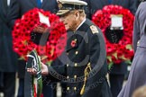 Remembrance Sunday at the Cenotaph in London 2014: HRH The Duke of Edinburgh walking towards the Cenotaph with his wreath. Press stand opposite the Foreign Office building, Whitehall, London SW1, London, Greater London, United Kingdom, on 09 November 2014 at 11:04, image #191