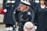 Remembrance Sunday at the Cenotaph in London 2014: HRH The Duke of Edinburgh saluting at the Cenotaph. Press stand opposite the Foreign Office building, Whitehall, London SW1, London, Greater London, United Kingdom, on 09 November 2014 at 11:04, image #193