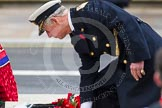 Remembrance Sunday at the Cenotaph in London 2014: HRH the Prince of Wales laying his wreath at the Cenotaph. Press stand opposite the Foreign Office building, Whitehall, London SW1, London, Greater London, United Kingdom, on 09 November 2014 at 11:04, image #197