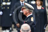 Remembrance Sunday at the Cenotaph in London 2014: HRH the Prince of Wales saluting at the Cenotaph. Press stand opposite the Foreign Office building, Whitehall, London SW1, London, Greater London, United Kingdom, on 09 November 2014 at 11:04, image #198