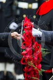 Remembrance Sunday at the Cenotaph in London 2014: The handing over of a wreath - Lieutenant James Benbow, Royal Navy, and HRH The Duke of Cambridge. Press stand opposite the Foreign Office building, Whitehall, London SW1, London, Greater London, United Kingdom, on 09 November 2014 at 11:05, image #202